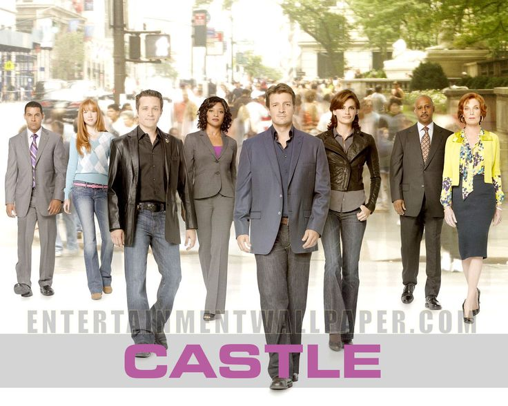 Left to right martha castles mom,captin of nypd,kate beckett,richard castle,laney me,ryan dective,alexis castles daughter, and last but not least espisito dective
