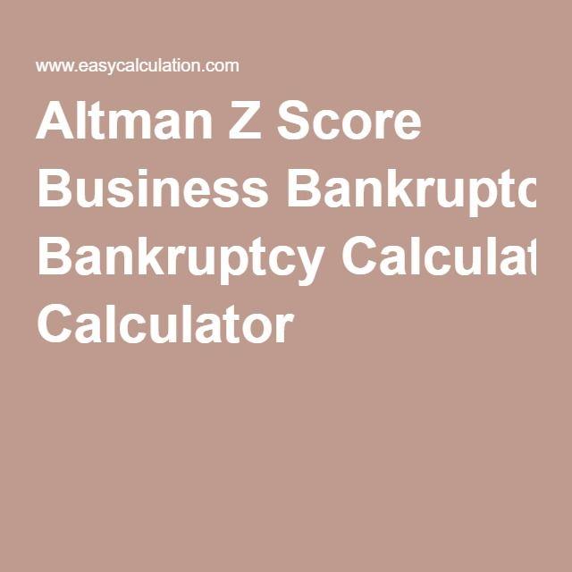 Altman Z Score Business Bankruptcy Calculator