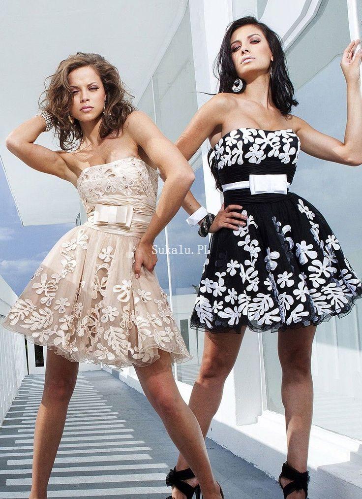 Bez ramiączek Organzy Mini Sukienki Koktajlowe z Szarfy