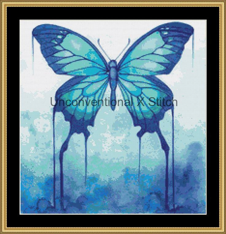 Butterfly cross stitch pattern - Sugar Twins MINI - Licensed Karita Smevag Halten by UnconventionalX on Etsy