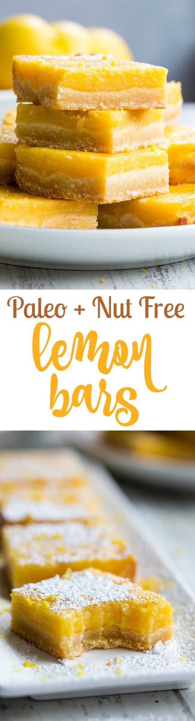 These creamy paleo lemon bars have a nut free, grain free honey-sweetened shortbread crust with a perfectly sweet-tart lemon custard layer to top!  Dust with organic powdered sugar or dollop with coconut whipped cream for a deliciously dreamy dessert!