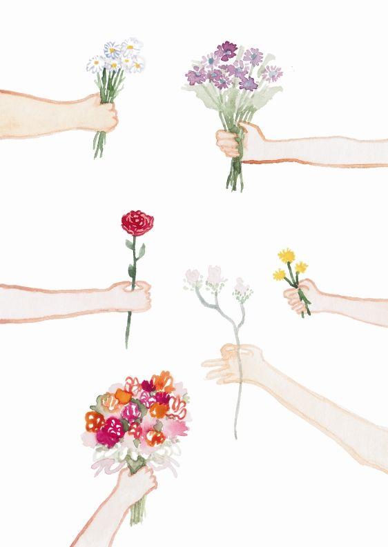Květinové přání Narozeninové přáníčko (A6) s gratulanty, kteří přinášejí květiny. Vzor je malovaný vodovými barvami, tištěno na papíře Rives Tradition (320 g) na Indigo tiskárně. Dodáváme s lososovou obálkou (C6) zabalené v celofánovém sáčku. Při nákupu jakýchkoli 3 přání, sleva 20% :-)