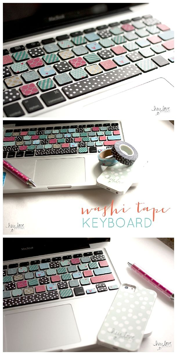 DIY Back to School Projects for Teens and Tweens - Personalize your laptop or desktop keyboard with fun colored WASHI TAPE - tutorial via Hey Love Designs