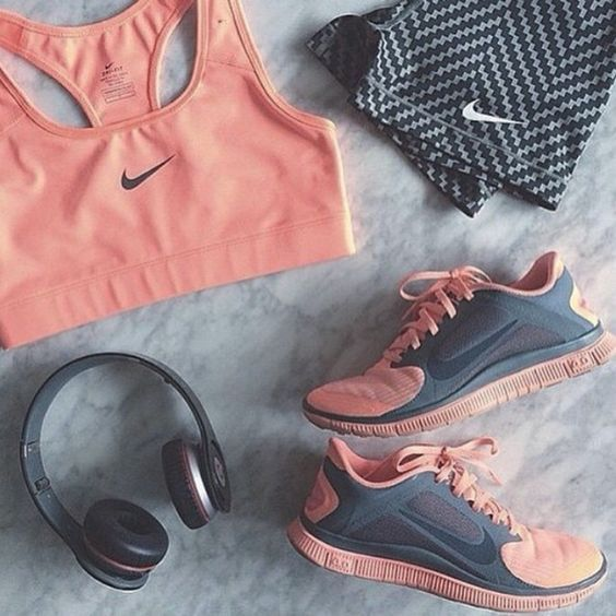 pink + grey workout gear