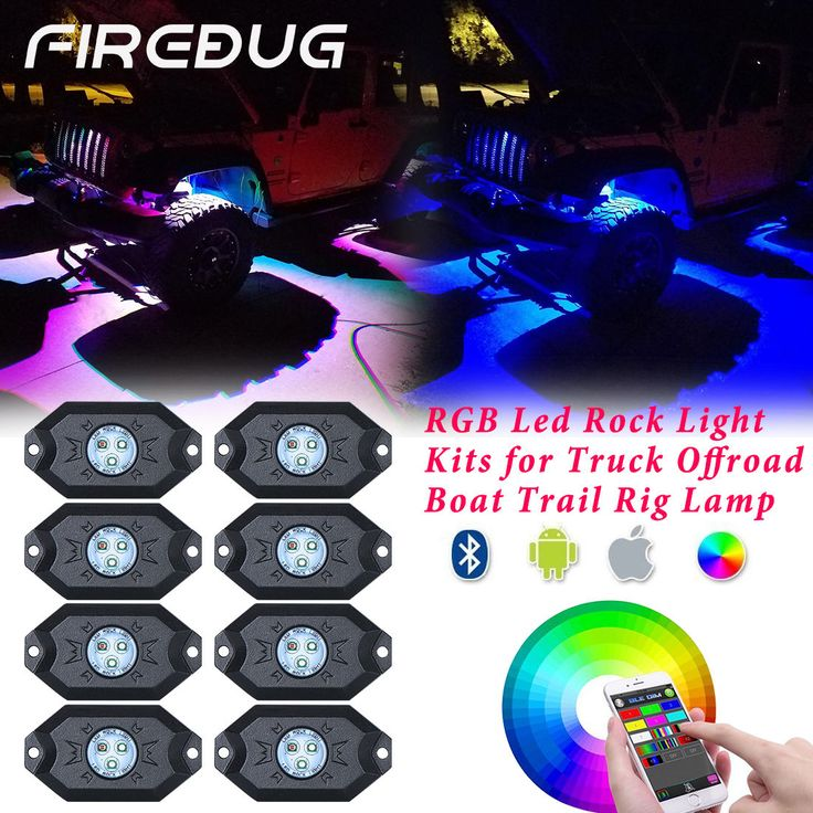 Firebug 8 Pods LED RGB Rock Lights for Off Road Jeep Truck & Boat Jeep Wrangler