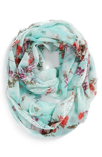 Lulu Lace Trim Floral Infinity Scarf (Juniors) | Nordstrom cafsew coours