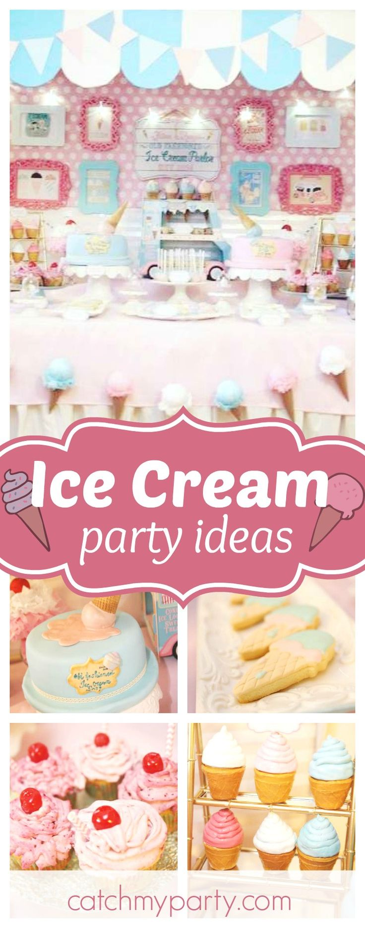 Don't miss this pretty Ice Cream parlor birthday party. The ice cream cookies are adorable!! See more party ideas and share yours at CatchMyParty.com