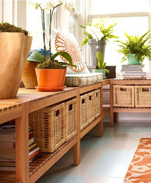 storage  planter space in the sunroom