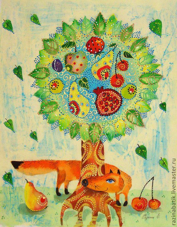 Чудо Дерево (батик панно) - чудо,дерево,счастье,детство,радость,Батик