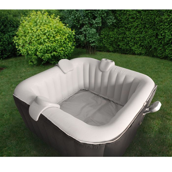TheraPureSpa 4-Person Square Inflatable Hot Tub At