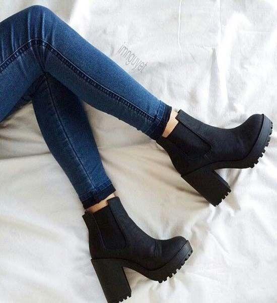 New Chunky Heel Black Boots
