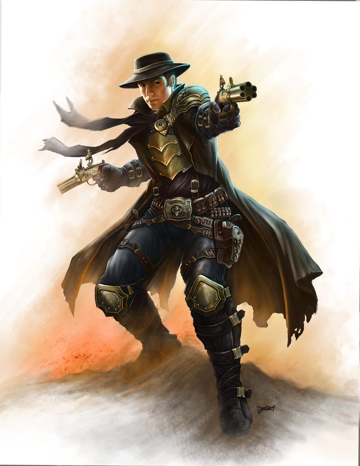 steampunk gunslinger by loztvampir3 on deviantART -- While the elements to create gunpowder exist in Jadeworld, it has never been invented, it's place taken by much more versatile red jade explosives. Thanks to jade, swordsmen and martial arts masters can stand toe to toe with red jade gunslingers.