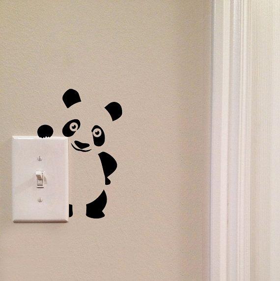 Panda Light Switch Cute Vinyl Wall Decal by imprinteddecals