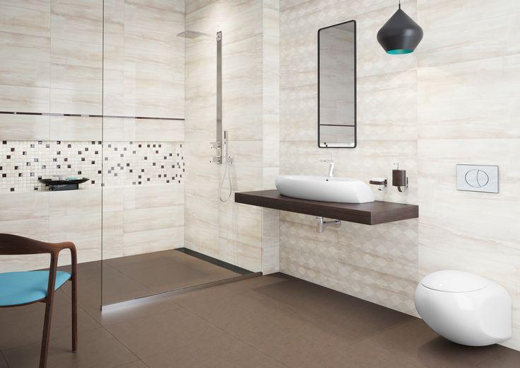 Kamień, naturalne inspiracje, drewno w łazience. Simple stone- Opoczno - ciepłe brązy w łazience nie muszą być nudne. Nowoczesne szklane listwy i mozaika nadadzą aranżacji stylu.