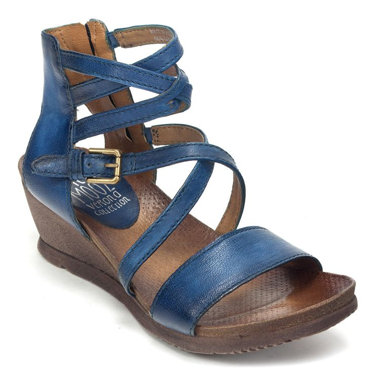 Miz Mooz Shay Womens Leather Strap Wedge Sandal Shoe | Simons Shoes