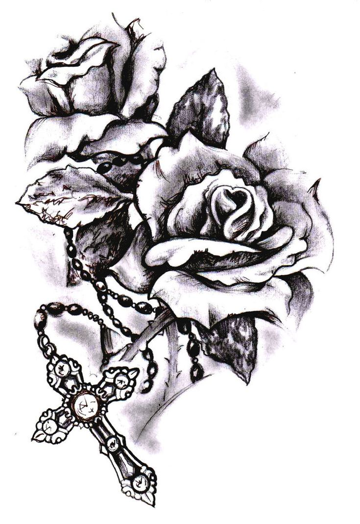 45 best Skull Rose And Cross Tattoo images on Pinterest ... Skull And Cross Drawing