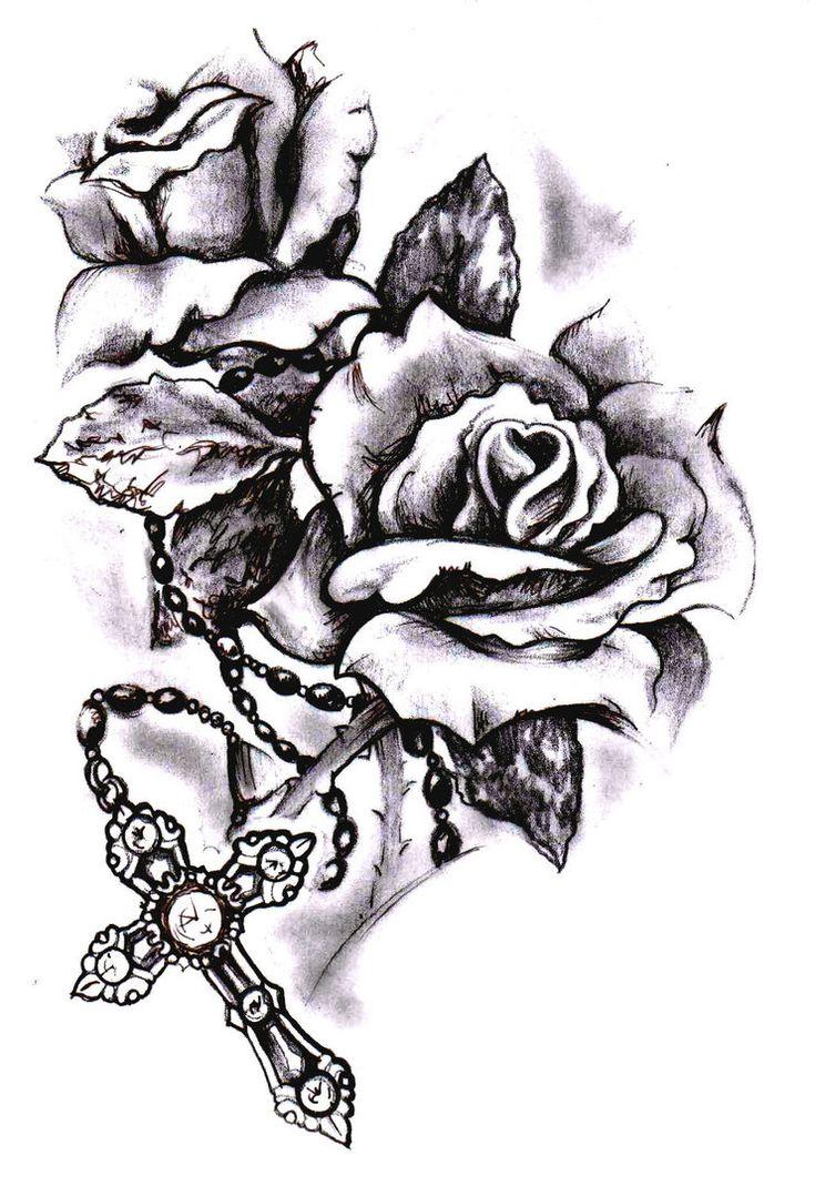 Rose cross sketch by SimonValentine on DeviantArt