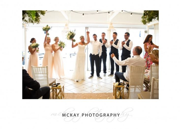 Married! Indoor at Jonah's Whale Beach  #jonahs #whalebeach #wedding #mckayphotography