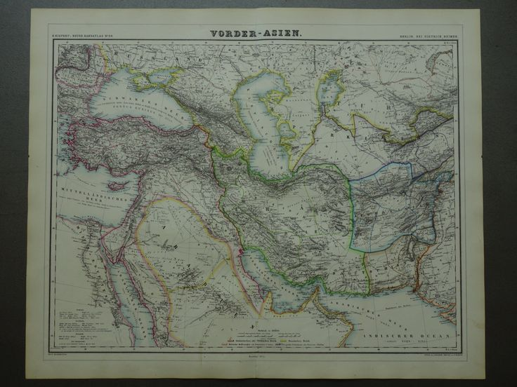 """1874 large antique map of Persia - beautiful old hand-colored poster of Iran Iraq Turkey Ottoman empire Arabia Syria - vintage big - 19x24"""" by VintageOldMaps on Etsy"""