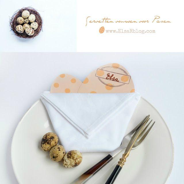 Servetten vouwen voor Pasen plus naamkaart - Diy tafel dekken -   ElsaRblog