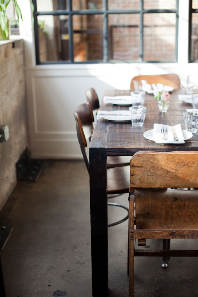 By Jennifer YoungWooden Chairs, Dining Room Tables, Kitchens Tables, Rustic Tables, Wood Tables, Old Wood, Black Windows, Wooden Tables, Dining Tables