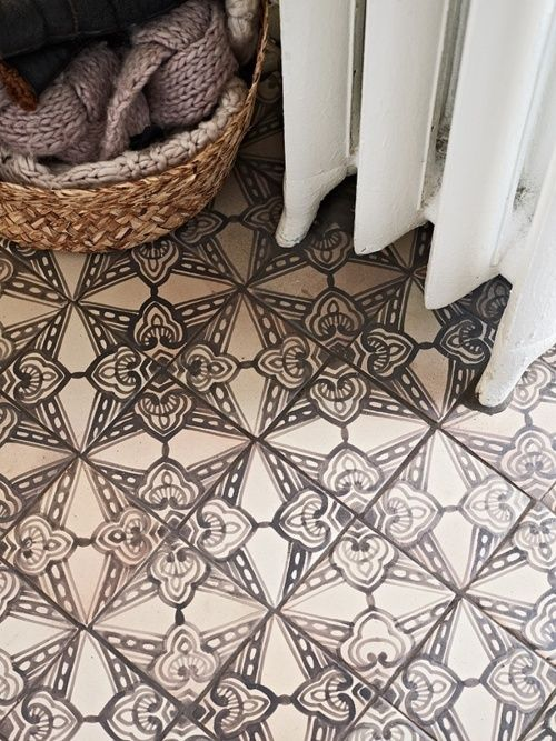 painted neutral tile