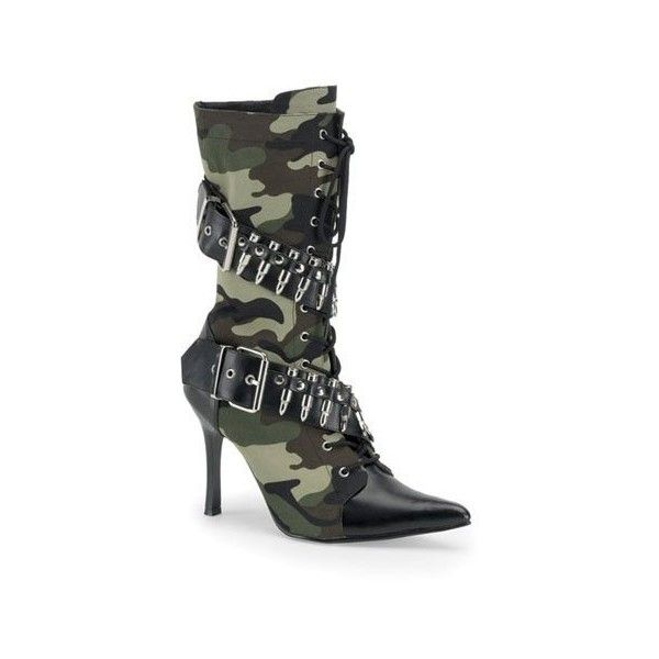 Women Sexy Boot 3 3/4 High Heel Ankle Boot Green Camoflage Bullet Army... (£56) ❤ liked on Polyvore featuring costumes, shoes, sexy camo costume, womens green lantern costume, sexy halloween costumes, sexy army costume and army halloween costumes
