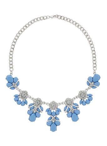 Blue flower crystal necklace