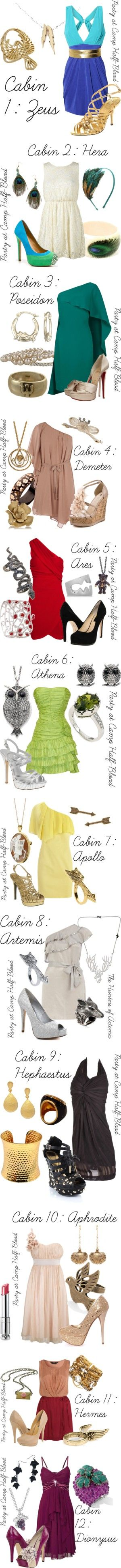 """Percy Jackson: Cabins"" by ellalea ❤ liked on Polyvore <<< some of these I don't like but others I do"
