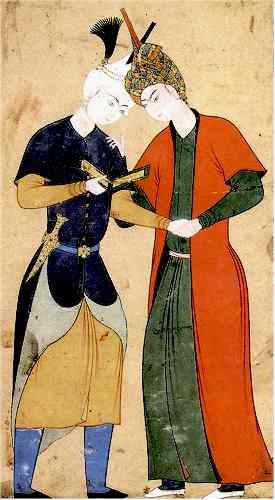 ca. 1530 Two princes, more likely a self portrait of Aqa Mirak (right) with Shah Tahmas. Aqa Mirak (ca. 1510-1576) Isfahan, Persia. Opaque watercolor, ink, and gold on paper. close-up. Smithsonian