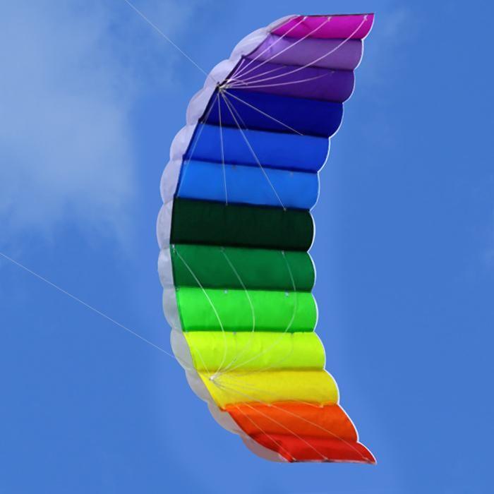 New High Quality 62-Inch Dual Line Parafoil Kite With Flying Tools Power Braid Sailing Kitesurf Rainbow Sports Beach