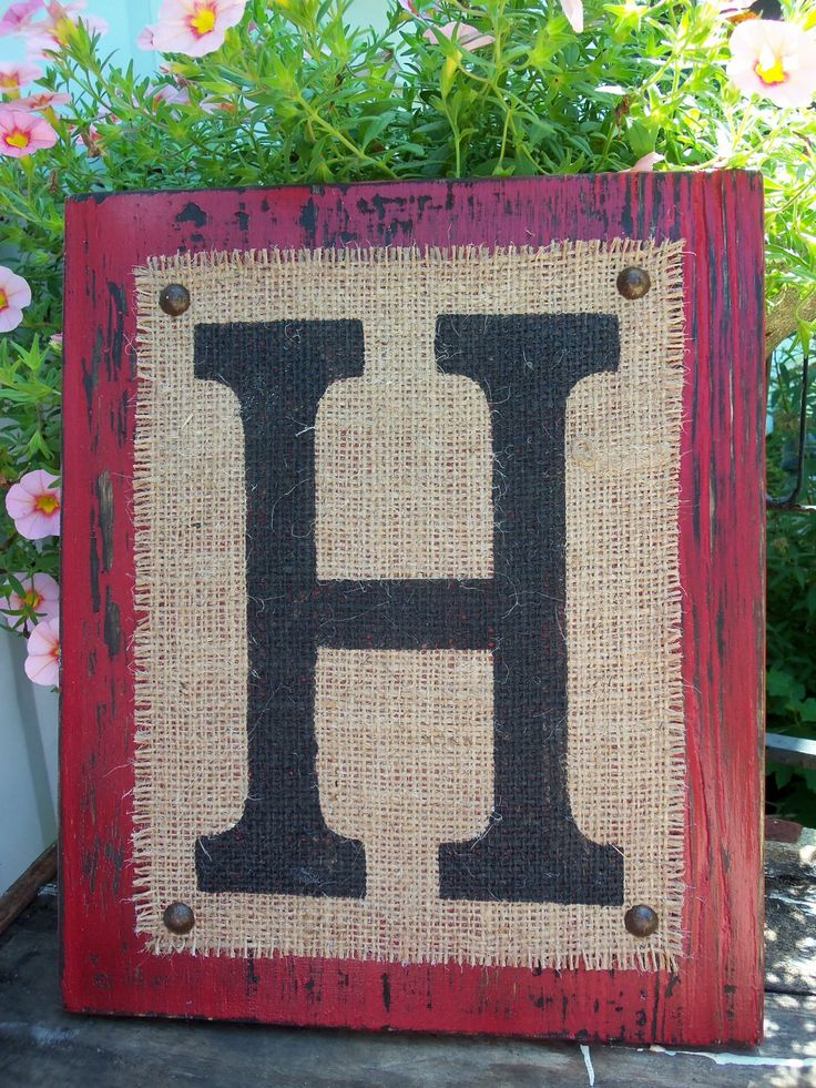 Burlap Monogram Sign Personalized Any Letter A Z Initials