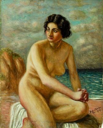 """Per la """"Bagnante"""" di Giorgio de Chirico (olio su tavola, 1929, Collezione Mario Rimoldi), ho scelto la poesia """"Nuda"""" di Pablo Neruda."""