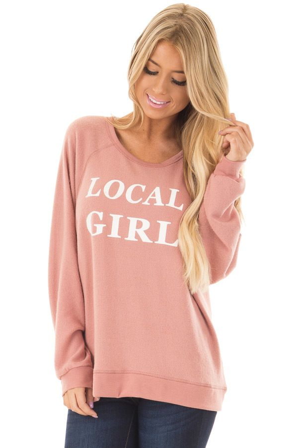 Mauve Soft Sweater with 'Local Girl' Print