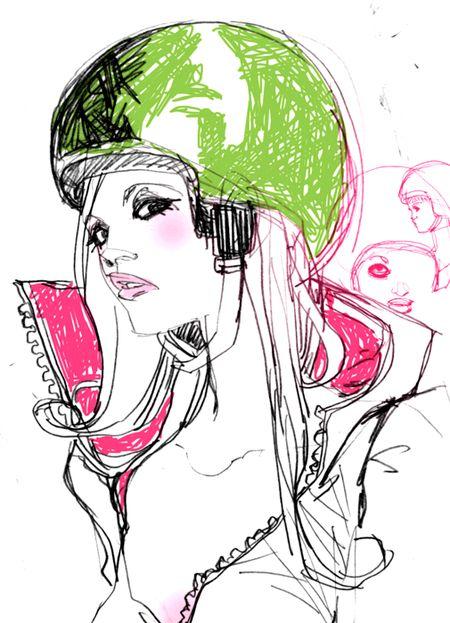 'Vespa Girl'. Giclée Art Print by Marguerite Sauvage