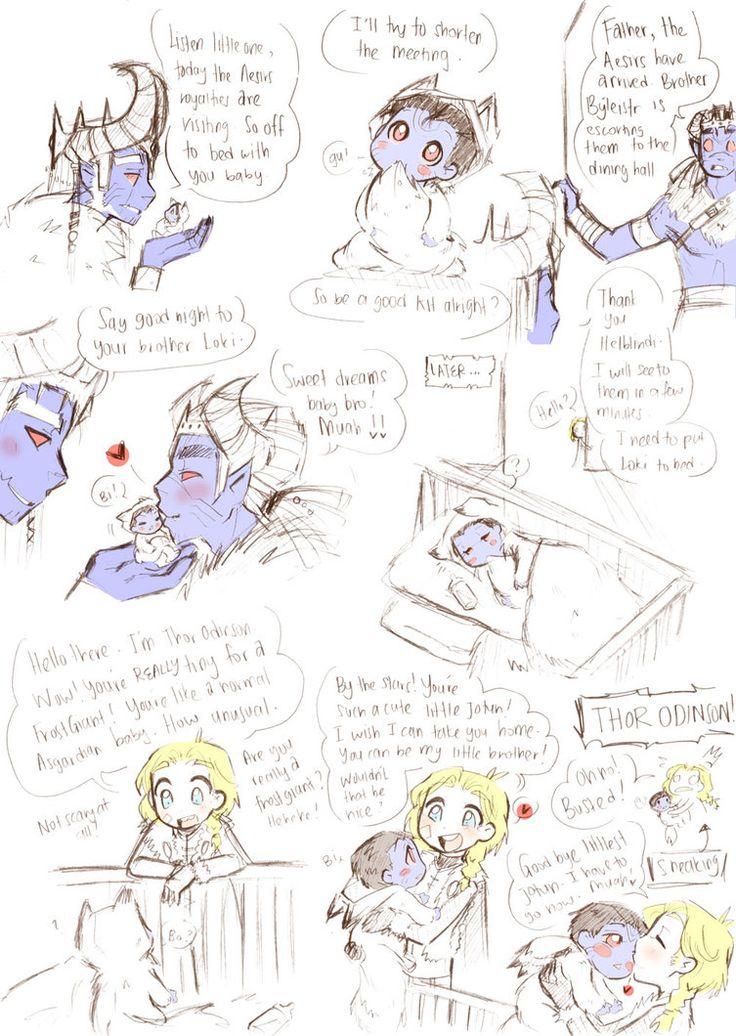 More AU Jotun!Loki doodle. Just a sketch drawing of Papa Laufey. And Loki's big bro Helbindi. Oh dear god.... I'm having the urge to draw fancomics again. Nghhhhhhhhhhhhh! Must not............... B...