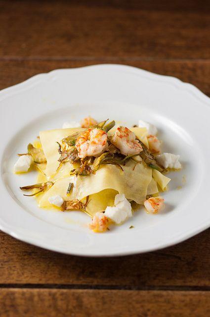 millefoglie di pasta con carciofi mazzancolle e bufala              #recipe     #juliesoissons