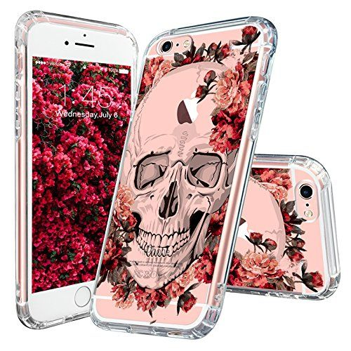 iPhone 6s Plus Case, Cool iPhone 6 Plus Case, MOSNOVO Floral Skull Flower Clear Design Printed Transparent Plastic Hard Back Cover with TPU Bumper Protective Case for Apple iPhone 6 6s Plus (5.5 Inch)