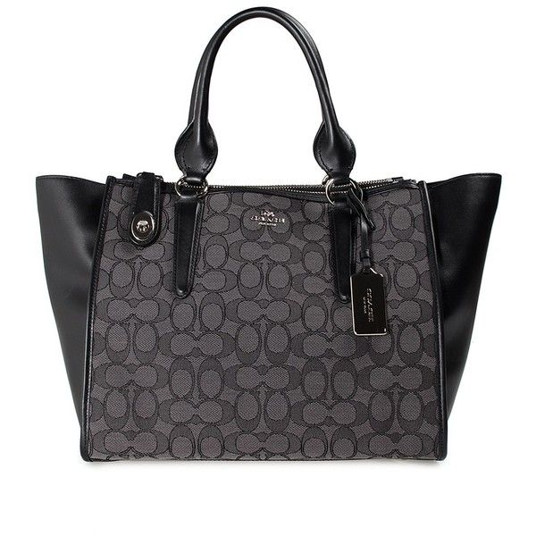 Coach Crosby Carrial Leather and Signature Jaquard Tote Bag (598 CAD) ❤ liked on Polyvore featuring bags, handbags, tote bags, nero, pocket tote bag, handbags totes, genuine leather tote bag, leather handbag tote and genuine leather tote