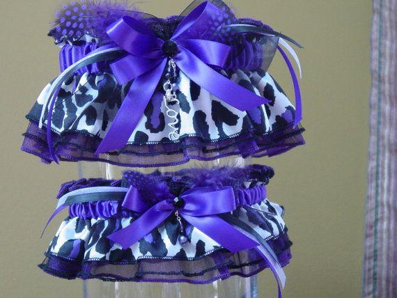 ANIMAL PRINT!!!!  Purple Leopard Print Wedding Garter Set!!!  Ummm yes