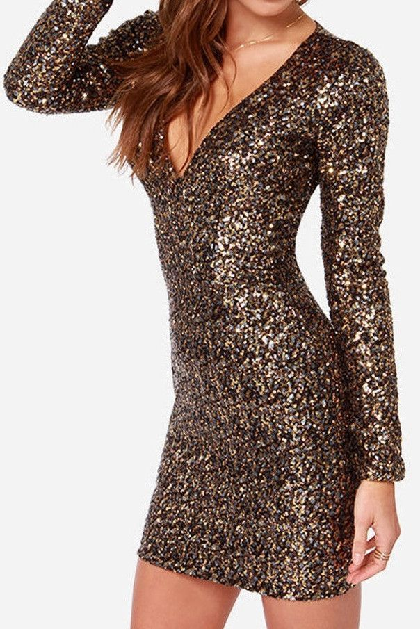 New Year's Eve dress: All Over Gold Sequins Mini Dress