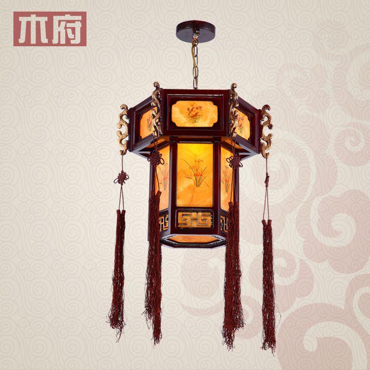 Çin fenerler ahşap oyma antika avize klasik fener lamba koridor restoran balkon koridor ışıkları lamba ışıkları restau(China (Mainland))