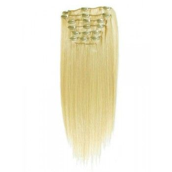18 inches Bleach Blonde(#613) 7 pieces Clip In Synthetic Hair Extension