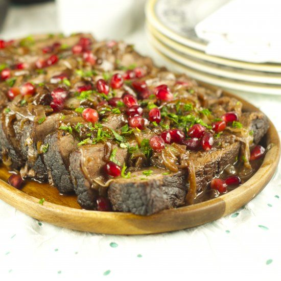 And Pomegranate Brisket: delicious braised brisket with a pomegranate ...