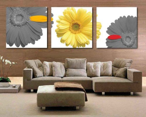 Spirit Up Art HD Giclee Art Print on Canvas Yellow&Grey Chrysanthemum set of 3 Modern Home Wall Painting Decor Art Each 5050cm #06-JD-74 (framed)