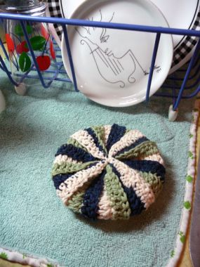 How to crochet a tawashi, for a twist enclose a bar of soap and loop to hang in the shower, great for the kids