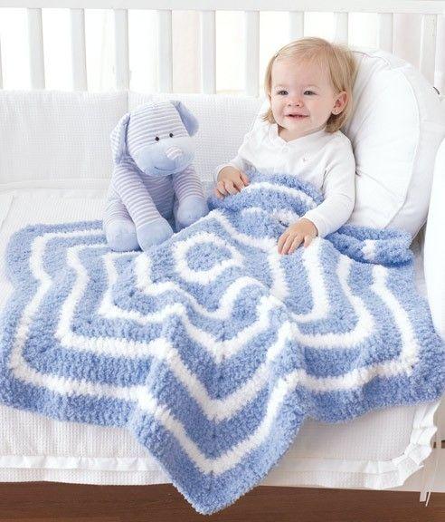 Follow this free crochet pattern to create a star baby blanket using Bernat Pipsqueak chunky weight yarn.