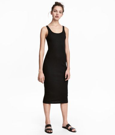 Black. Fitted, sleeveless dress in ribbed jersey.