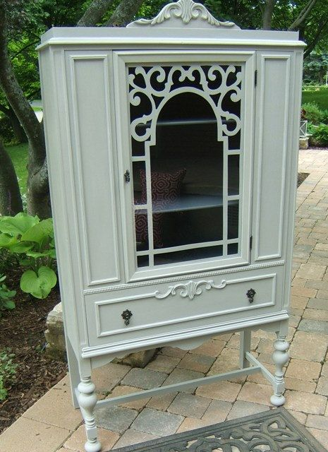 Painted Antique Vintage China Cabinet Hutch by StudioPaintNiagara