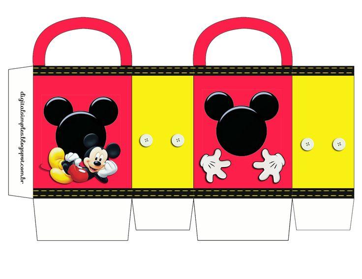 Mickey: Bolsa de Papel para Imprimir Gratis.                              …